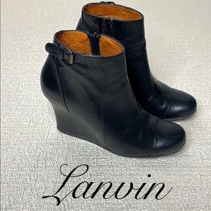 LANVIN BLACK WEDGE ANKLE BOOTIES